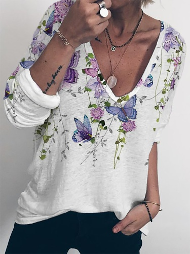 Plus size Casual Butterfly Shirts & Tops