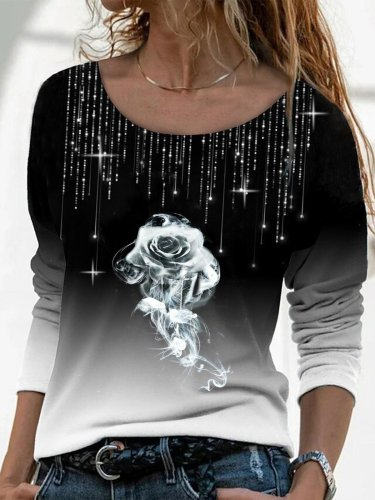 Black Floral Ombre/Tie-Dye Printed Rhinestone Casual Long Sleeve Shift Shirts & Tops