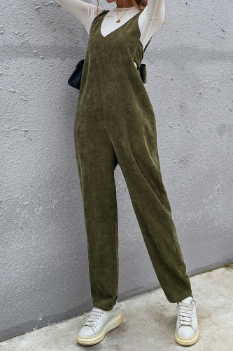 Casual Solid Split Joint With Bow V Neck Regular Jumpsuits
