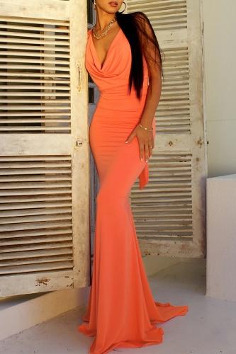 Fashion Elegant Solid Backless Strap Design Asymmetrical Collar Evening Dress Dresses