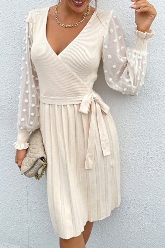 Elegant Patchwork Lace Frenulum V Neck A Line Dresses