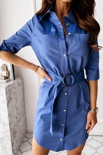 Fashion Elegant Solid Buckle With Belt Turndown Collar Shirt Dress Dresses
