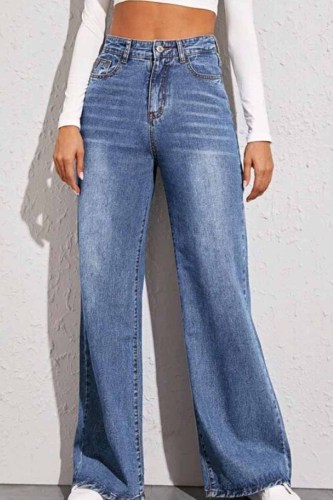 Solid Loose Blue Denim Trousers Long Pants