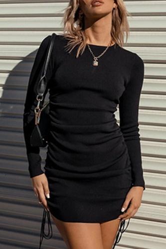 Elegant Solid Split Joint Frenulum O Neck Pencil Skirt Dresses