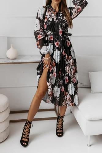 Elegant Floral Fold With Belt Ribbon Collar Pleated Dresses