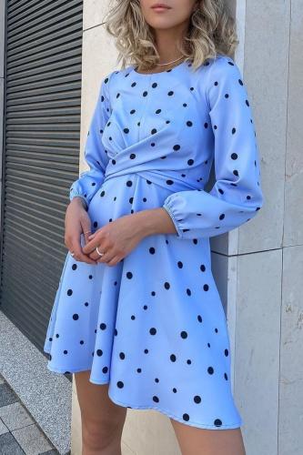 Elegant Polka Dot Split Joint Fold O Neck A Line Dresses