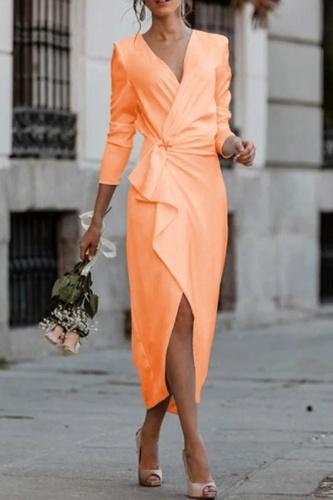 Fashion Elegant Solid Split Joint Asymmetrical V Neck Pencil Skirt Dresses