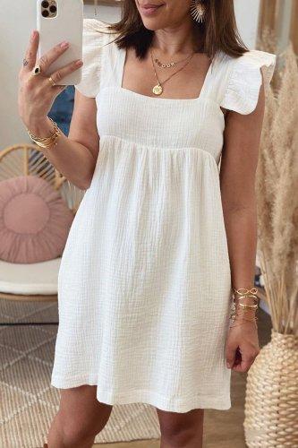 Fashion Sweet Solid Split Joint Square Collar Princess Dresses