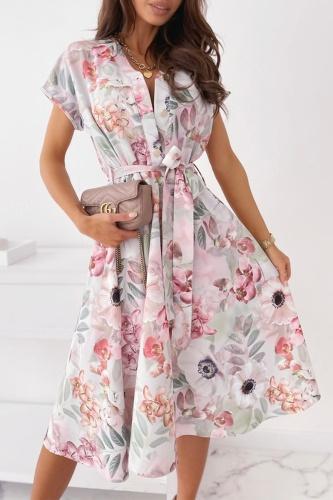 Elegant Print Buckle With Belt V Neck A Line Dresses