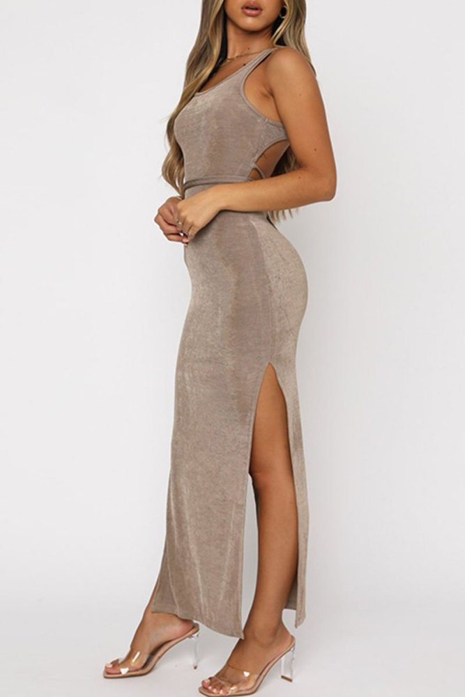 Fashion Casual Solid Backless O Neck A Line Dresses