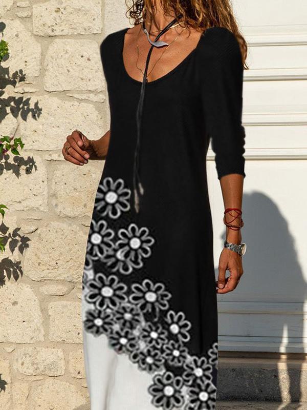 Fashion printed black and white flower dress long sleeve round neck long dress maxi dresses