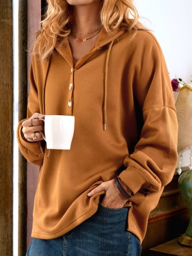 Khaki Long Sleeve Buttoned Sweatshirt