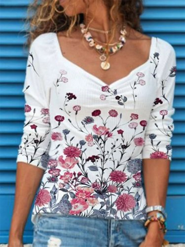 Vintage Long Sleeve Floral Printed V Neck Plus Size Casual Tops