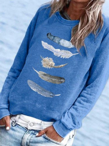 Simple Long Sleeve Printed Round Neck Shirts & Tops