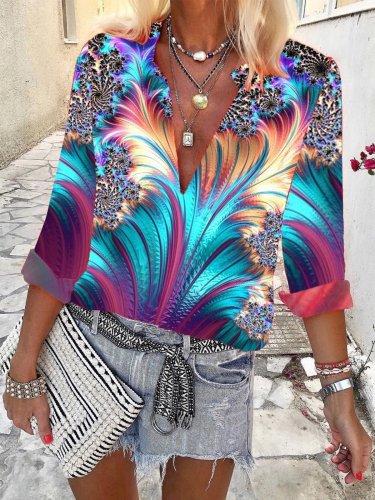 Floral-Print Casual V Neck Shirts & Tops