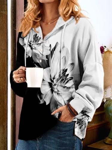 Plus size Long Sleeve Floral Hoodies Sweatshirt