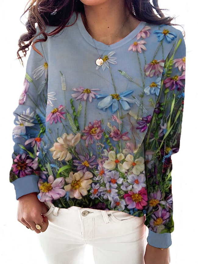 Plus size Floral Long Sleeve Shirts & Tops
