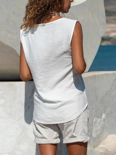 Pure Color Casual Loose Sleeveless Square Neck Top Vests