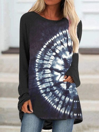 Black Ombre/Tie-Dye Printed Casual Long Sleeve Shift Shirts & Tops