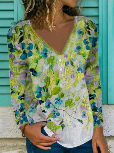 Vintage Floral Leaves Printed V Neck Long Sleeve Plus Size Casual Tops
