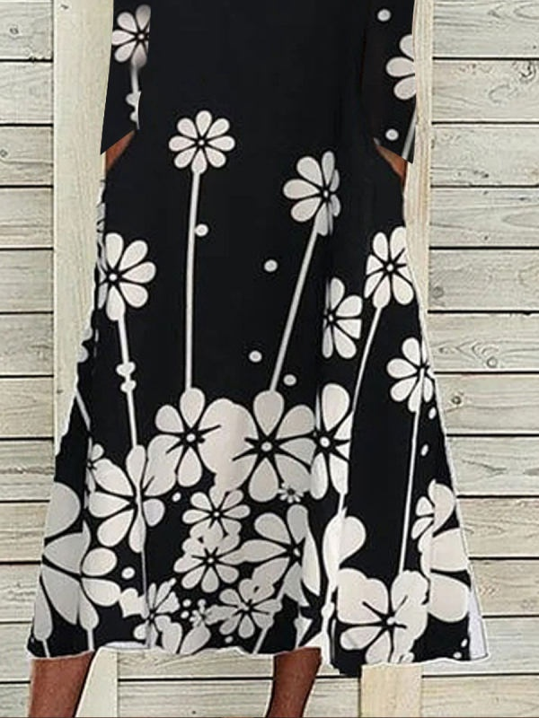 Floral-Print Crew Neck Long Sleeve Casual Dresses