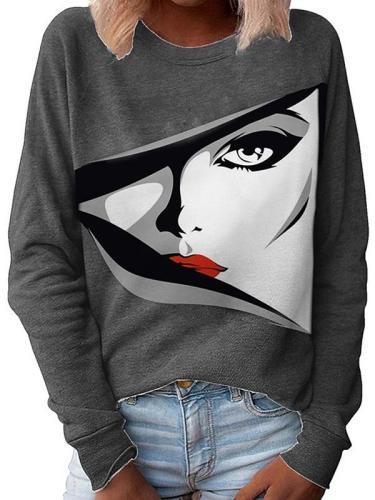 Autumn women face printed round neck long sleeve sweatshirts