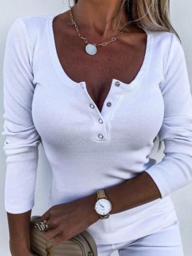 Women daily round neck button design long sleeve plain T-shirts