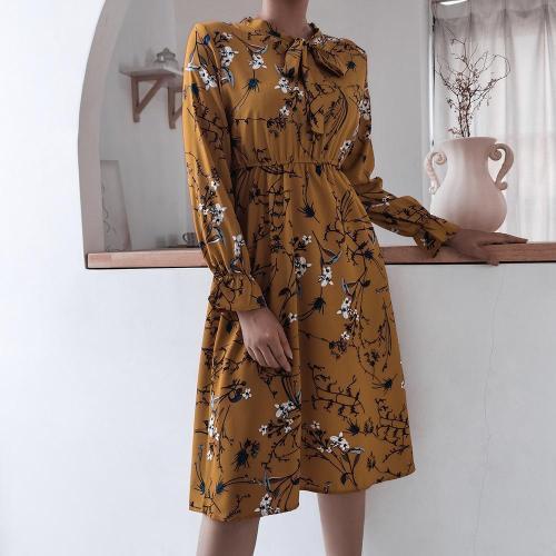 Bowknot tie neck women printed skater dresses for autumn