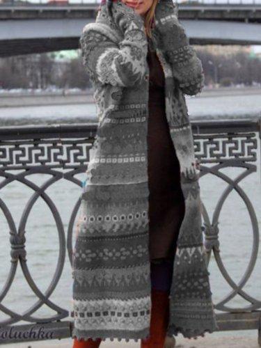 Plus Size Casual Hoodie Long Sleeve Coat
