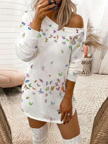 Vintage Long Sleeve Leopard Butterfly Geometric Printed Off Shoulder Plus Size Casual Dresses