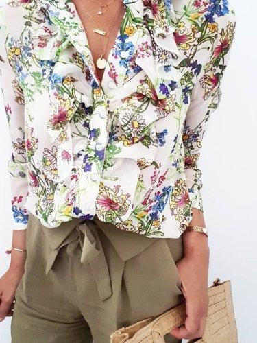 Floral Printed Casual Holiday Shift Long Sleeve Shift Shirts & Tops