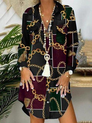 Floral-Print Shirt Collar Casual Dresses
