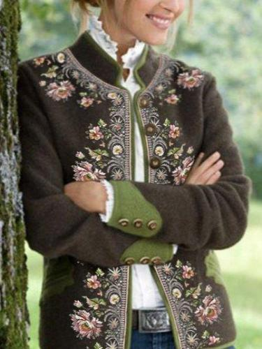 Floral Printed Long Sleeve Outerwear