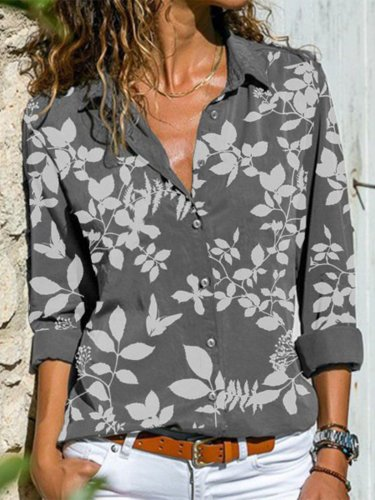 Vintage Long Sleeve Floral Printed Buttoned Plus Size Casual Shirts Tops