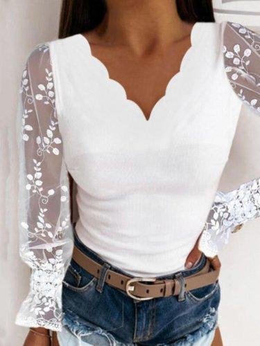 White V Neck Paneled Lace Basic Sexy Long Sleeve Shirts & Tops