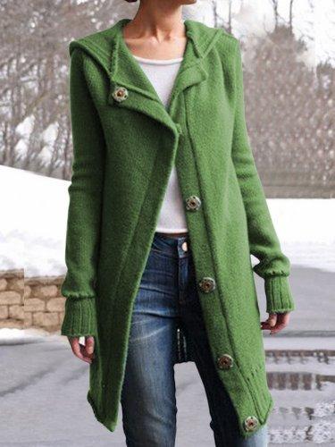 Women Buttoned Vintage Hoodie Sweater Coats