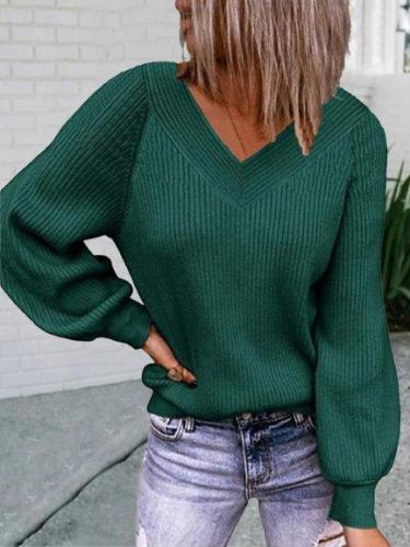 Vintage Solid V Neck Long Sleeve Plus Size Casual Sweaters