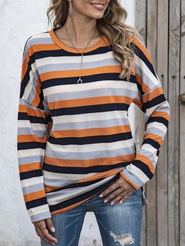 Women round neck striped long sleeve casual T-shirts