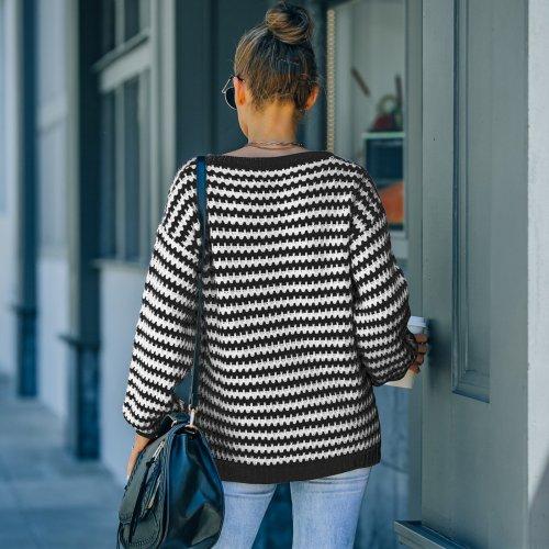 Fashion V-neck loose slimming stripe knit sweaters