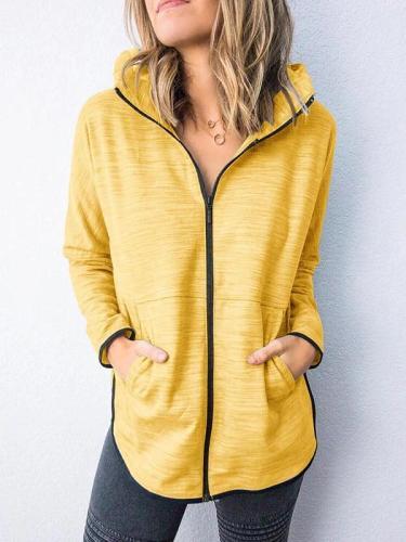 Women hoodied plain zipper long sleeve casual jackets