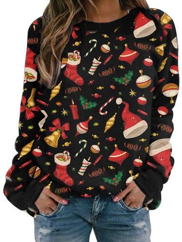 Christmas printed round neck long-sleeved fleece sweatshirts