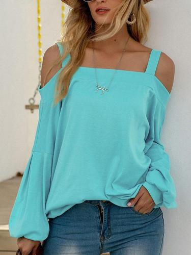Sexy off-shoulder long-sleeved solid color sweaters