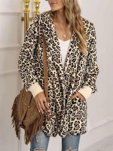 Fashion leopard print plush coats