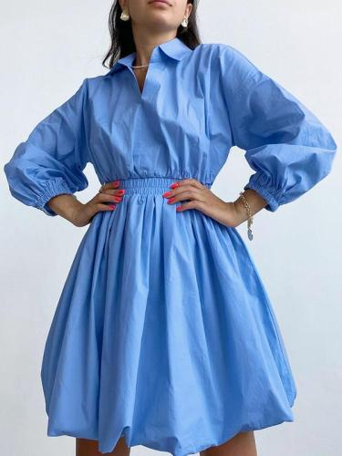 V-neck lantern sleeve temperament retro waist slim design skater dresses
