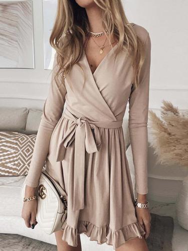 Solid color lace-up V-neck long-sleeved ruffle skater dresses