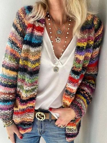 Women colorful chic cardigans sweater coats