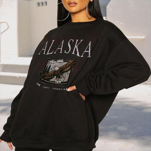 Casual daily women word printed plain long sleeve Sweatshirts