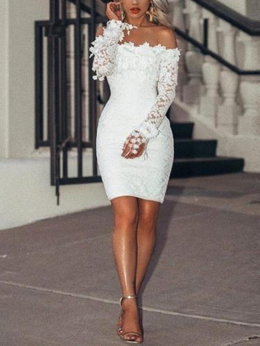 Off shoulder women white long sleeve lace bodycon dresses