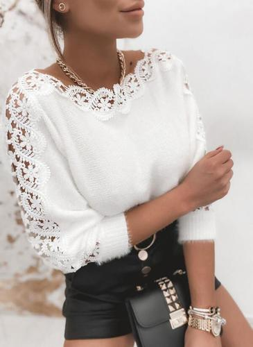 Sexy V-neck lace stitching solid color long-sleeved sweaters