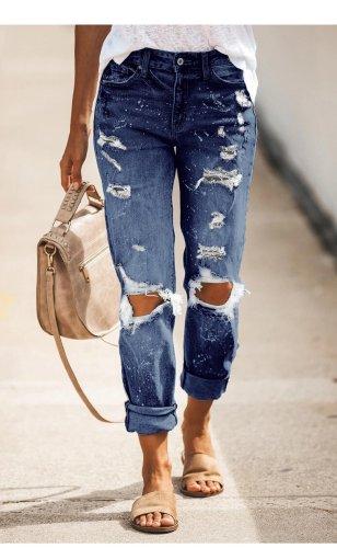 Basic fashion hole design denim jeans long pants